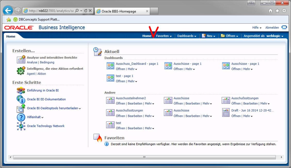 Oracle BI Katalog Link fehlt