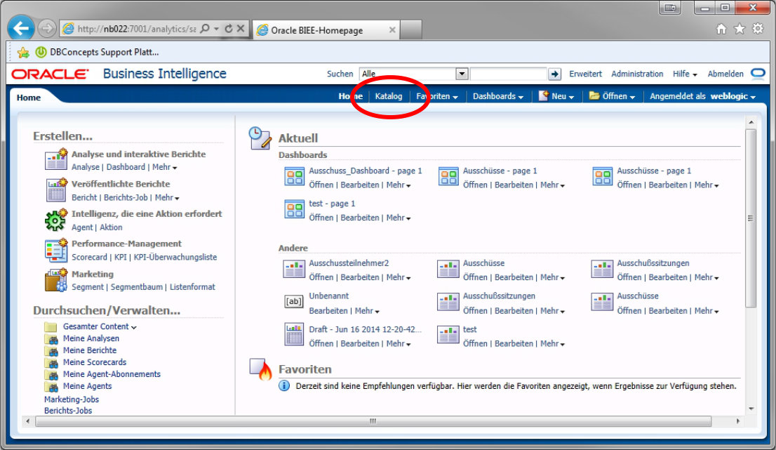 Oracle BI Katalog Link wieder da