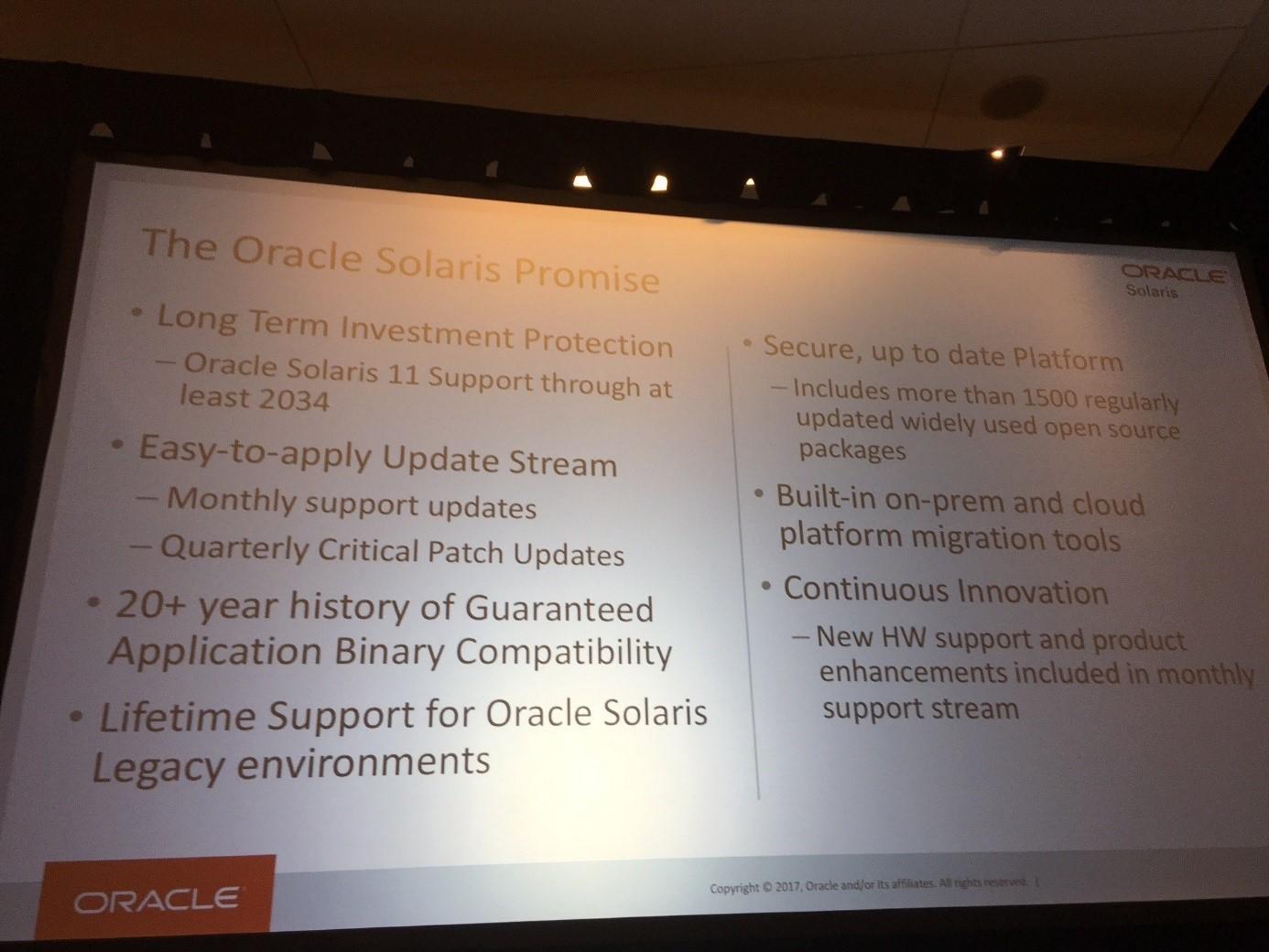 Oracle Open World 2017-das Solaris Zukunft Versprechen