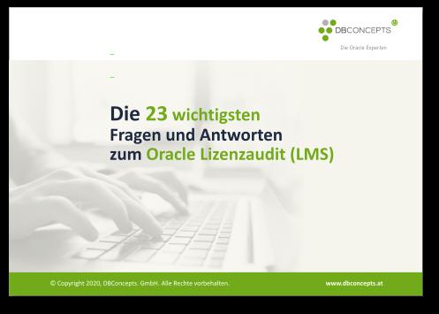 Ansicht des PDF Ratgeber 23 Fragen und Antworten zum Oracle Lizenzaudit (LMS)