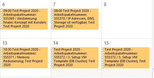 Ansicht im Outlook Kalender